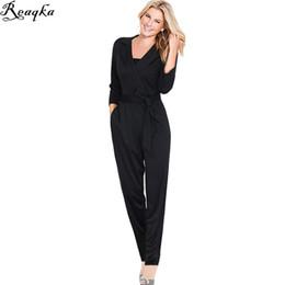 9e46f3d7b586 jumpsuits eleganti per le donne 2016 Nuovi arrivi Autunno Inverno casuale  vestito casuale della cinghia del v-collo del pagliaccetto nero tasca  sottile tuta ...