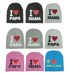 Wholesale Baby I Love Mama - 2015 Hot baby I LOVE PAPA MAMA hat warm cotton beanie for toddler baby kids girl baby winter hats
