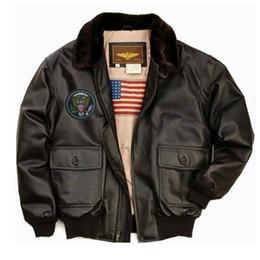 Wholesale Winter Leathers - Fall-New Winter Landing Leathers Men's Navy G-1 Leather Flight Bomber Jacket 100%Genuine Leather Fur Biker Jacket Mens Faux Fur Coats