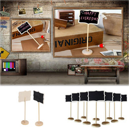Wholesale mini message chalkboard - Wholesale- 5 Pcs set Stand Wedding Table Decoration Mini Blackboard Chalkboard Wordpad Message Board Holder Clip On A Stick