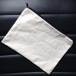 Luce per borsa online-60 pz / lotto pianura naturale avorio / colore nero borsa di tela di cotone puro colore con cerniera nera unisex casual portafoglio in cotone bianco sacchetto