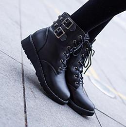 Wholesale Korean Winter Fashion Boots - Korean Explosion models short Boot Student flat boots women's Martin boots Lace belt buckle snow boots