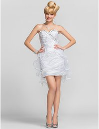 Wholesale Draped Charmeuse Dress - 2016 New Big Discount Cute Popular Homecoming Cocktail Party Dresses White Sheath Column Sweetheart Beads Short Mini Charmeuse Tulle Dress