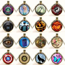 Wholesale Wolf Cross Pendant - 80 styles Brand Designer Jewelry Choker Necklace Glass Pendant Spider man Superman Cross Time Gem tree of life Wolf Pendants
