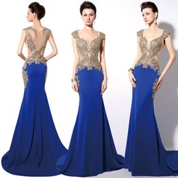 Wholesale Cheap Shiny Party Dresses Short - In Stock Royal Blue Dubai Arabic Dresses Party Evening Wear Gold Shiny Embroidery Crystal Sheer Back Mermaid Prom Dresses Real Image Cheap