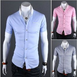 Wholesale Black Big Collar Shirt - Big sale! New summer grid color matching men's cultivate one's morality short sleeve shirts Free Shipping 4 Color M-XXL