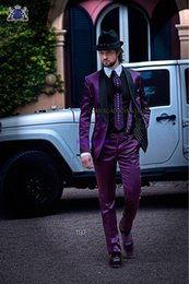 Wholesale Purple Pinstripe Pants - Shiny Purple Satin Groom Tuxedos One Buttons Shawl Collar Best Man Blazer Lovely Mens Wedding Suits (Jacket+Pants+BowTie+Handkerchief) A1265