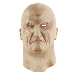 Wholesale Free Fancy Dress - Scary Realistic Latex Old Man Mask Male Disguise Halloween Fancy Dress Head Rubber Adult Masks Masquerade Cosplay Props