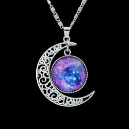 Wholesale Necklace Pendant Designs - Trendy Jewelry Colorful Earth And Moon Shape Design Pendant Necklace For Women Cheap Costume Jewelry