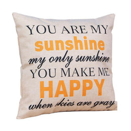 """Wholesale Black Pillow Covers - Wholesale-Low Price """"You are my Sunshine """"Cotton Linen Leaning Cushion Throw Pillow Covers Pillowslip Case Good Design 45*45 cm"""