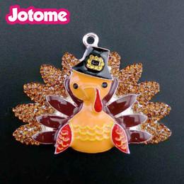 basket necklace jewelry Australia - Cute animal Turkey jewelry in hot sale Orange Enamel Turkey in the Basket Thanksgiving Day pendant