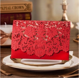 Wholesale Red Wedding Invites - 50Pcs Lot European Style Luxurious Laser Cutting Floral Inviting Card For Business Party Wedding Free Envelope And Free Seal