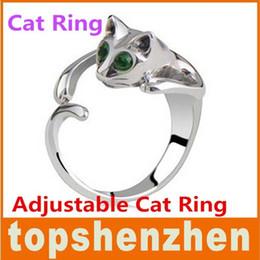 Wholesale Cat Eye Rings Wholesale - Adjustable Cat Ring Animal Fashion Ring With Rhinestone Eyes djustable and Resizeable Free Shipping