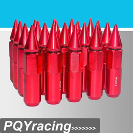 Wholesale Racing Lug Nuts - J2 RACING Store-20PCS HIGH QUALITY ALUMINUM EXTENDED TUNER LUG NUTS WITH SPIKE FOR WHEELS RIMS M12X1.5 PQY-ELBN1215R RED
