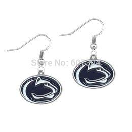 Wholesale Enamel Lion Earrings - new fashion 20Pairs Lot enamel Penn State Nittany Lions charm earrings