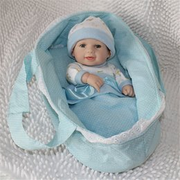 Wholesale Live Doll Silicone - 12 Inches Full silicone Vinyl Handmade New Reborn Baby Dolls Kids Toys Bonecas Baby Alive Mini Boy Smiling Live Dolls