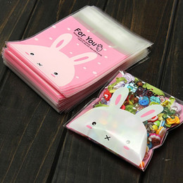 Wholesale Recycle Pc - 100 Pcs Cute Pink Rabbit Print Gifts Bags Plastic Clear DIY Candy Cookies Wedding Birthday Party Craft Bags Packaging Bags