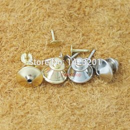 Wholesale Locking Pin Backs Wholesale - Wholesale-100 pcs Lot Plated Locking Tie Tac Tack guard Pin Clutch Backs Brass F103
