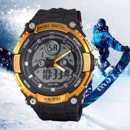 Wholesale Watches Light Women - New Arrival SANDA Green LED Light Analog Digital Watch Women Men Sports Watches 50M Waterproof Rubber Dive Military Wristwatch