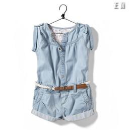 Wholesale Blue Suspender Skirt - 2016 new arrival summer baby Kids Girls pants shorts denim Jumpsuit skirt girl children conjoined pants Denim jumpsuits romper onesies