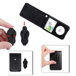 Custodia in pelle per Apple iPod Video lettore classico con clip per cintura mobile Nera da