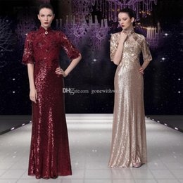 Wholesale Red Lace Qipao - half sleeves gold burgundy sequin lace embroideried Qipao Arabic evening dresses 2018 mother of the bride dresses for evening party