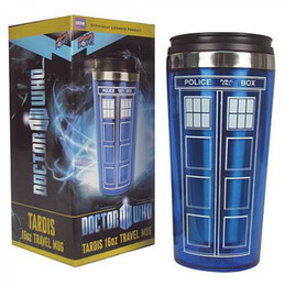 Wholesale Police Cup - 2015 popular Doctor Who police box tardis 16oz mug travel stainless steel cups water drinking bottle