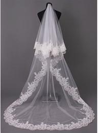 Wholesale Chapel Length Soft Tulle Veil - Gorgeous 3 meters Long Lace Appliques Wedding Veils For Wedding Dresses Cheap Soft Tulle Wedding Accessories Bridal Veils New Arrival