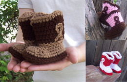 Wholesale Cowgirl Boots Wholesale - Drop shipping!Knitted Baby Cowboy Boots!toddler shoes,Crochet snow boots,cotton yarn baby shoes,winter Cowgirl walking shoes.8pairs 16pcs