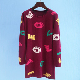 Wholesale Patterned Knitwear - Spring autumn European and American new style high quality discount knitwear a long sweater letter-printed pattern
