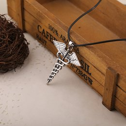 Wholesale Wings Pins - Percy Jackson Necklaces pins Angle Wings Magic Wand Caduceus pendant Necklaces brooches unisex movie statement jewelry ZJ-0903153
