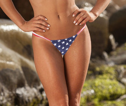 Wholesale Hot Tongs - Newest Hot Sexy Women's Star Spangled Tankini T-Back Tongs Brazilian US Flag Bikini Pants Ladies Floral Brazilian Bikini S M L XL A1
