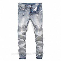 Wholesale size 38 ripped jeans - Ripped jeans for men high quality light blue color robin jeans men size 42 40 38 brand design hip hop jeans mens pants