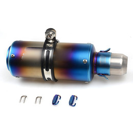 Wholesale universal motorcycle exhausts - Universal 51 mm SC Project Muffler Blue Exhaust Tail Pipe Stainless Steel Exhaust Tips Silencer for Motorcycle Street Dirt Bike ATV 245 mm