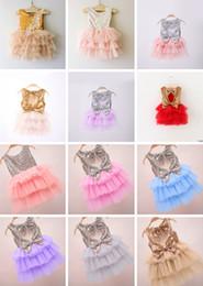 Wholesale Tutu Double Color - 12 Designs Girls Sequins Cake Skirt Double Bows Lace Suspender Dresses Summer TUTU Skirts Grenadine Fashion Baby Girls Ruffle Dresses 2-7 T