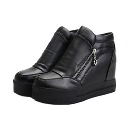 Wholesale Hidden Elastic - Wholesale- Fashion brand 2015 high top women shoes height increasing autumn mesh casual shoes breathable hidden wedge heels leisure boots