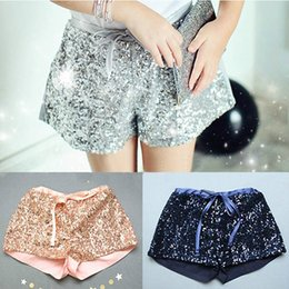 Wholesale Wholesale Mini Sequin Bows - Fashion New children shorts girls sequins shorts bling bling hot pants Bow princess shorts pink blue silver gold hot pink