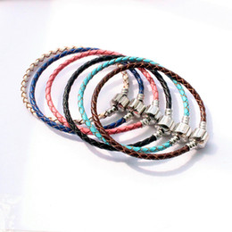 Wholesale Chain For Handmade Bracelet Wholesale - DIY Braided Leather Buckle Chain Handmade Silver Plated Box Chain Bare Chain for DIY Bracelet Jewelry Accessories