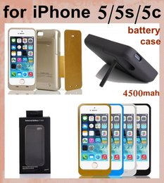 carregador de telefone de alta capacidade Desconto Alta capacidade 4500 mah caso de bateria para o iphone 5 5s 5c com suporte de suporte de backup caso de carregador de bateria portátil banco do poder caso de telefone BAC004