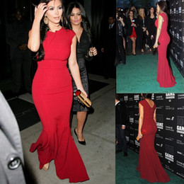Wholesale Kardashian Cheap Prom Dresses - Sexy Kim Kardashian Sexy Scoop Sleeveless Burgundy Mermaid Satin Prom Dresses Sexy Long Prom Gowns Cheap Party Gowns Club Wear Free Shipping