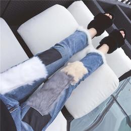 Wholesale Women S Blue Leather Pants - 2018 Natural rabbit Fur Patchwork Jeans Women Female Pencil Jeans Korean leather patchwork Slim Boyfriend Ninth Pants Jeans