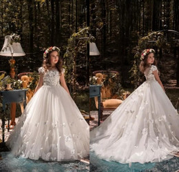Wholesale Beaded Wedding Dresses Butterfly - 2018 Beautiful Princess white Flower Girl Dresses for Weddings Beaded Applique Flowers Butterflies Kids Wedding Dress Pageant Gowns
