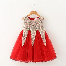 Wholesale Girls Dress Red Sequin - Kids Xmas dress Girls Sequins princess dress children sequins splicing tulle tutu dress kids pink party dress girls holiday dress A7014