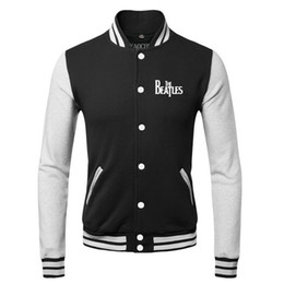 Wholesale Mens Cool Winter Jackets - New 2016 Fashion Warm Winter Cool Mens Coats Hip Hop The Beatles Rock Band Sweatshirts Baseball Bomber Jacket Men 3XL