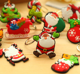 Wholesale Santa Claus Key Chain - Christmas decoration Christmas Keychain Santa Claus Double-Sided Rubber Key Chain Christmas Gifts Christmas products