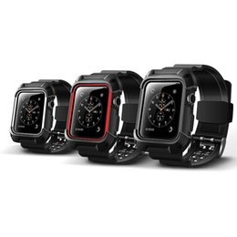 Relojes deportivos de plástico online-Banda para Apple Watch 42mm 38mm Banda Sport Loop Anti-colisión de plástico TPE Correa de correa para Iwatch 1 2 Band Watch Case estuche protector