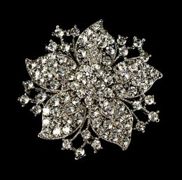 "Wholesale large brooch flower pins - 2.1"" Large Clear Rhinestone Crystal Vintage Look Bouquet Flower Pin Brooch"