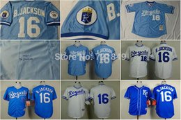 Wholesale Dry Goods - 2016 New Good Quality Hot Sale!!! Fast Delivery KC Kansas City Royals Older Jersey 16 Bo Jackson throwback 1987 blue&1980 white coolbase