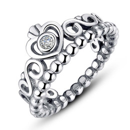 Wholesale Stones Box - 100% S925 ring for Valentine's Day princess crown sterling sliver rings with box