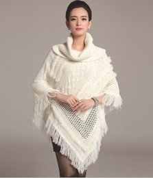 Wholesale Rabbit Fur Top Coat - New Autumn European Women's Turtleneck Knitting Tassel Poncho Knitted Shawl Cape Coat Lady's Rabbit Fur Pullovers Tops Sweater